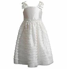 SWEET HEART ROSE Girl's 3T Ivory White Bow Shoulder Ruffled Dress NWT $68
