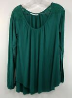 Womens Green Maurices Long Sleeve Blouse Size Large