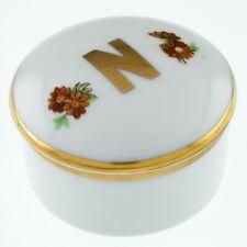 "Limoges France Porcelain Round Trinket Box ""N"" Insignia Nice!"