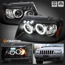 1999-2004 Jeep Grand Cherokee Black LED Halo Projector Headlights Left+Right