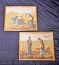 """Vtg Pair Paint By Number Paintings THE GLEANERS and THE ANGELUS Millet 20"""" x 16"""""""