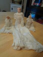 3 Sm. Celluloid Dolls In Long Old Dresses~1 Missing Arms~2 Need Arms Strung~