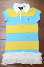 NWT Polo Ralph Lauren Girl's Striped Blue/Yellow Cotton Polo Dress 5