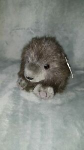 "Vintage Puffkins Plush gray wolf Stuffed Animal Gray 5"" Small w tag"