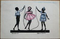 Art Deco Silhouette 1922 Postcard: Children Jumping Rope, Artist-Signed