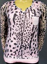 Neu 2 Teile =1 Preis Damen Top+Shirt langer Arm Leo Look schwarz pink Gr L 40/42