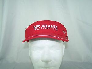 Atlanta Track Club Member Mizuno Adjustable Red Visor Running Golf Moisture Mgt