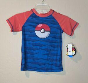 Pokemon Boys Size S Rash Guard Blue/Red PokeBall UPF50+ Swim Shirt