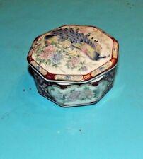 Ancienne Boîte à Bijoux vide octogonal Asie Japon Bouquet de fleur et Paon