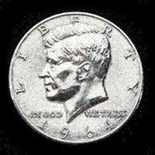 "JUMBO HALF DOLLAR - 1964 Kennedy - 3"" metal coin - magic trick joke gag gimmick"