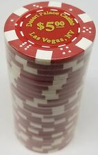 Poker Chips (25) $5 Desert Palace 11.5 gram Clay Composite FREE SHIPPING *