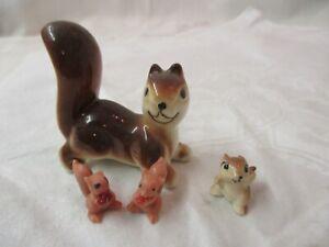 Vintage porcelain Bone China Plastic 4 Figurines Squirrels Chipmunk