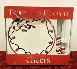 Fitz & Floyd  Cheers Snack Plate w/ Spreader Snowman Christmas Lights NIB 2006