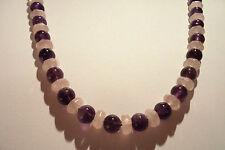 Edelsteinkette Amethyst/Rosaquarz Collier Halskette 8mm Perlen 50cm -True Gems