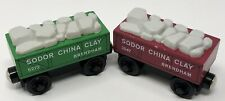 1997 Green & Red Sodor China Clay Cars Thomas And Friends Wooden Railway Vintage