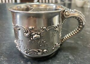 1898 Gorham #A5285 Sterling Silver Cup Rose Pattern Elephant Trunk Shaving Mug