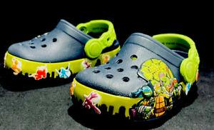 Crocs Light Up Teenage Mutant Ninja Turtle II TMNT Clogs Boys Children Sz 6 C6
