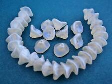 12 12 mm Three Petal Flower Beads: Glow Blue - Crystal