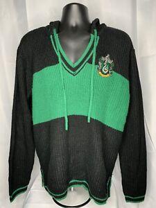 Harry Potter Slytherin Black & Green 2XL VNeck Knit Sweater Hogwarts Hoodie EUC
