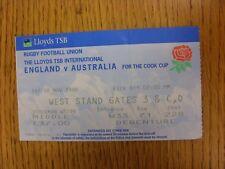 28/11/1998 Rugby Union Ticket: England v Australia [At Twickenham] (Slight Fold)