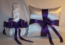 White Satin / Regency Purple Ribbon Trim Flower Girl Basket & Ring Bearer Pillow