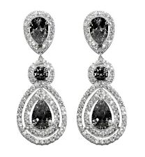 GLITZY PAVE BLACK+CLEAR HALO TEARDROP CUBIC ZIRCONIA CHANDELIER EARRINGS 57MM