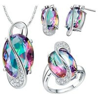 fashion 18K white gold plated pretty gem Crystal Necklace Earring Ring set