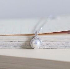 New 925 Sterling Silver Chain Necklace with Freshwater Pearl Pendant Gift