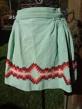 Antique Vintage Apron Mint Green Hand Crafted Slovak Needle Point Red Pink White