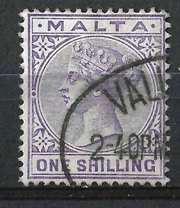 MALTA 1885 QV 1/- Violet SG28, Used