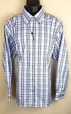 David Donahue Mens Shirt NWOT Long Sleeve Button Front Blue White Black Size XL