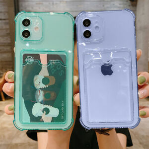 For iPhone 11 12 Pro Max XS X XR 8 7+ Case Clear Rubber Wallet Card Holder Cover