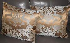Highland Court Throw pillows woven deers damask golden brown blue grey new PAIR