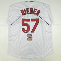 Autographed/Signed SHANE BIEBER Cleveland White Baseball Jersey JSA COA Auto
