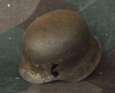 Original WW2 Battl. Relic German Steel Helmet M42 ( Bullet Damage ) Kurland