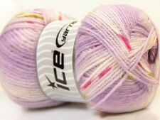 100gr Baby Design #22046 Lilac White Green + Design Striping Acrylic Yarn 393yds