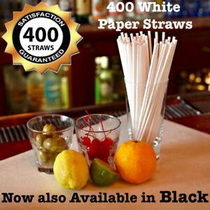Black Paper Straws or White Wedding Paper Drinking Straws Birthday Bulk UK