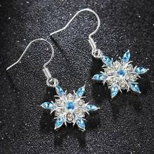 Luxury 925 Silver Aquamarine Snowflake Earrings Womens Christmas Jewelry Gifts