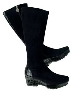 DONALD J PLINER Rafa Black Suede Croc Print Patent Leather Wedge Boots Size 10 N