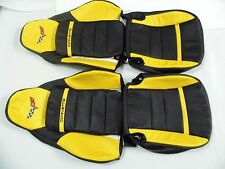 2005-2011 C6 Corvette Genuine Leather Seat Covers Black/Yellow Standard Seats