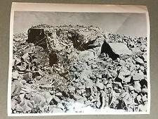 ww2 photo press Japanese pillbox on Iwo Jima blasted by US Navy   1945   A97