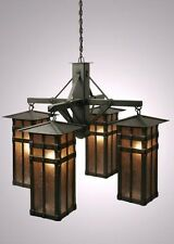 4 Light San Carlos Chandelier Fixture. Old Iron Finish Steel W/ White Mica Shade