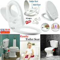 3 in 1 Family Toilet Seat Kids Potty Training Soft Close Quick Release Hinges