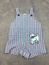 Vintage Baby Boys Red Green Blue Seersucker Checkered Dog Romper Samara