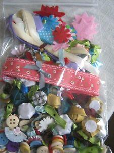 LARGE Bag of Asstd Appliques - Ribbon, Roses, Buttons, Asst'd Felt Trims... NEW!