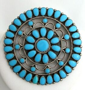 Navajo Turquoise Cluster Sterling Silver LMB Larry Moses Begay Brooch Pendant