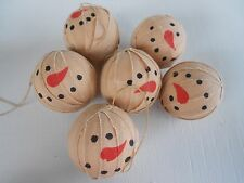 Primitive Country SNOWMEN Rag Balls Bowl Fillers~CHRISTMAS~ HOMESPUN~ PRIM