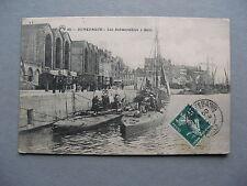 FRANCE, classic PPC card Dunkerque, submarine U-boot 1910, railway