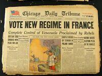 Oct 22,1945 World War II Newspaper Headline Vote New Regime in France Chicago