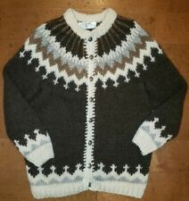 Genuine Icelandic Iceland Sweater 100% Pure Wool HAND KNITTED In Reykjavik Large
